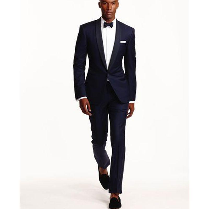 2018 Navy Blue Wedding Men Suits For Groom Wear Shawl Lapel One ...