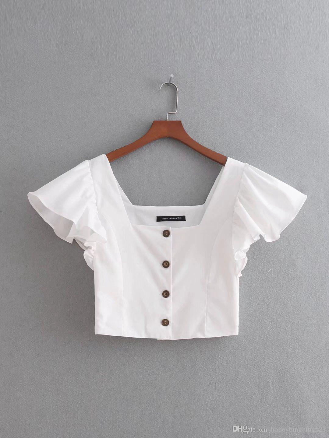 2018 moda Europeia novas Francês estilo real Turísticos babados peito de design das mulheres de manga curta blusa curta de cintura alta parte superior da camisa