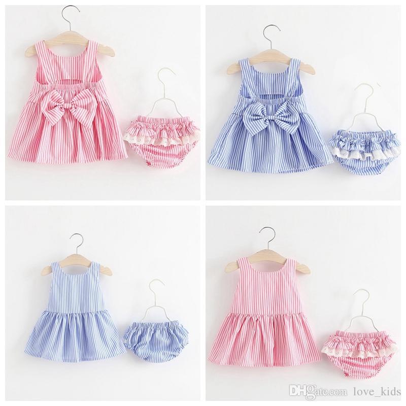 Conjuntos de Roupas para Crianças Meninas do bebê Arco Listrado Vestidos + Shorts 2 Pçs / set Verão Algodão Arco Princesa Vestido Boutique Roupas Roupas