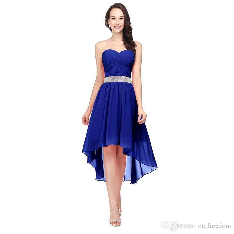 ac079f0c4a800 Royal Blue Bridesmaid Dresses High Low Sweetheart Beaded Sash Lace up Back  Cheap Chiffon Modest Wedding Party Gowns SD400