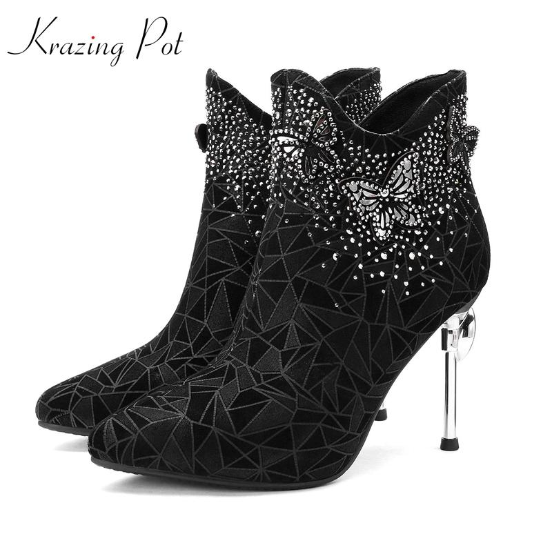 8cb398efe1e Krazing Pot Vintage Design Sheep Suede Pointed Toe Beading Bling Studded  Stiletto Strange High Heels Nightclub Ankle Boots L87 Chukka Boots Ladies  Shoes ...