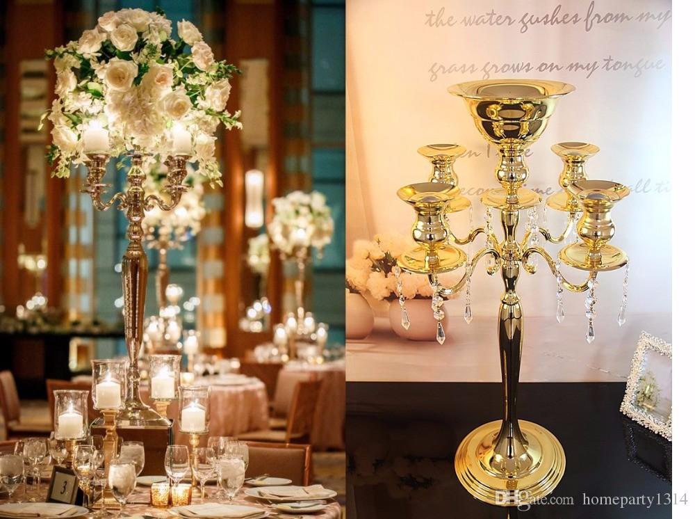 Kristal masa centerpieces ile düğün masa uzun şamdanlar saksı vazo mum standı tutucu ayağı mum ekran düğün sahne dekorasyon