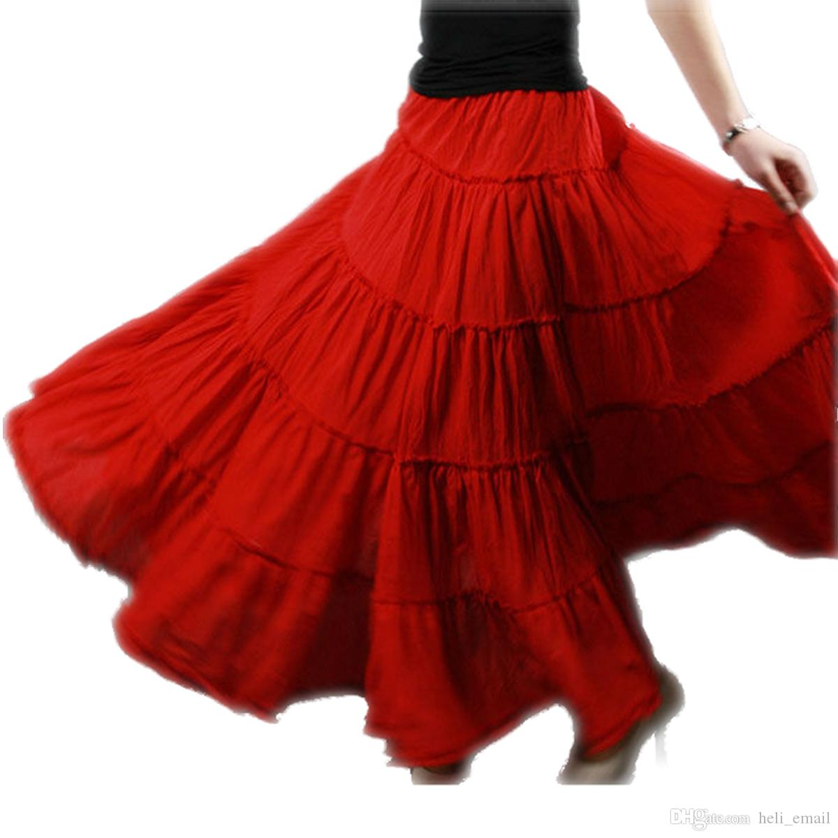 b5316451b35ce 2019 Summer 5 Layer Stitching Gypsy Bohemian BOHO Full Circle Cotton Maxi  Skirt Dancing Spain Pleated Long Skirts For Womens Red Black White From  Heli email ...