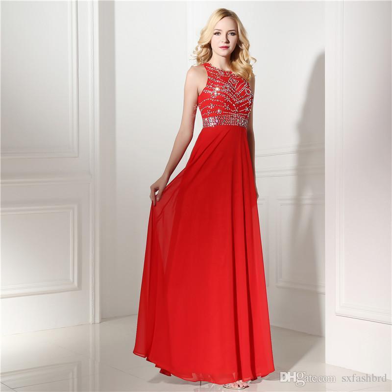 2fa0e5a8b Compre Moda Elegante Rebordear O Cuello Una Línea Gasa Roja Fiesta Larga  Mujeres Formales Vestidos De Noche Vestidos De Fiesta Sexy Vestidos De Gala  A ...