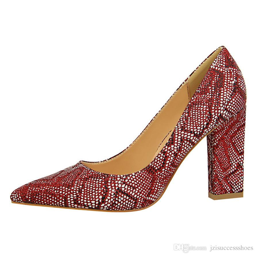 de8813751f9e49 New sexy snake print pu leather square heels shoes womens jpg 891x891 Snake  print shoes for