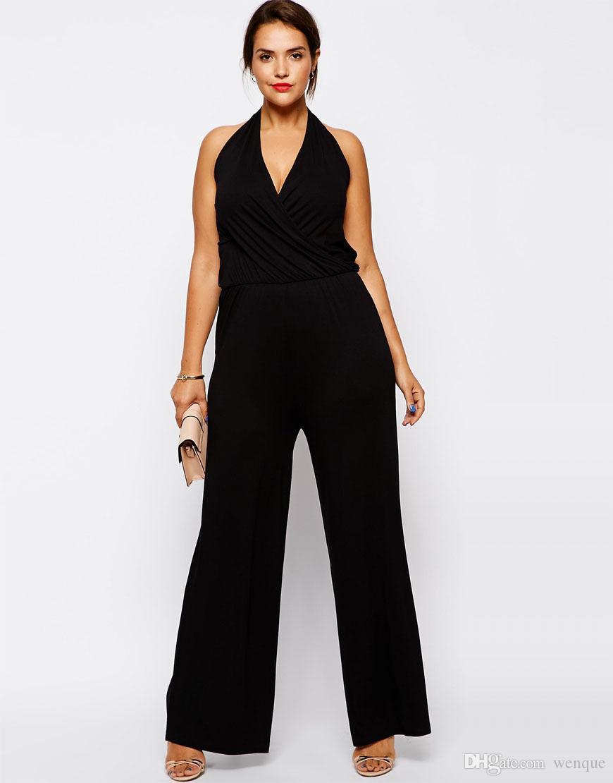 Acheter En Gros Plus La Taille Femmes Combinaisons 6XL Sans Manches Femmes  Barboteuses Noir Halter Combinaison Grande Grande Taille Dame D été Vêtements  5XL ... 509e6da4fa9