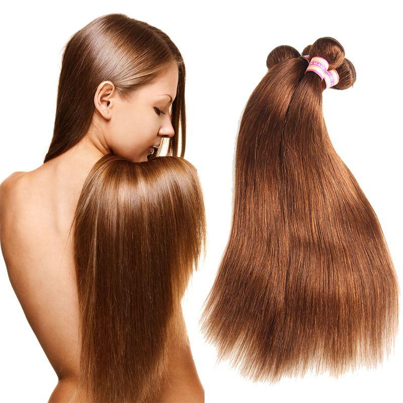Medium Brown Brazilian Virgin Human Hair Bundles Brazilian Straight