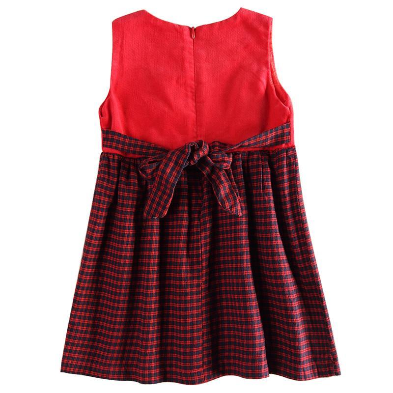 Novatx H6062 2017 neue design heißer verkauf wolle top grid cord baby mädchen kleid mit blume sleeveless frühling kinder kleider