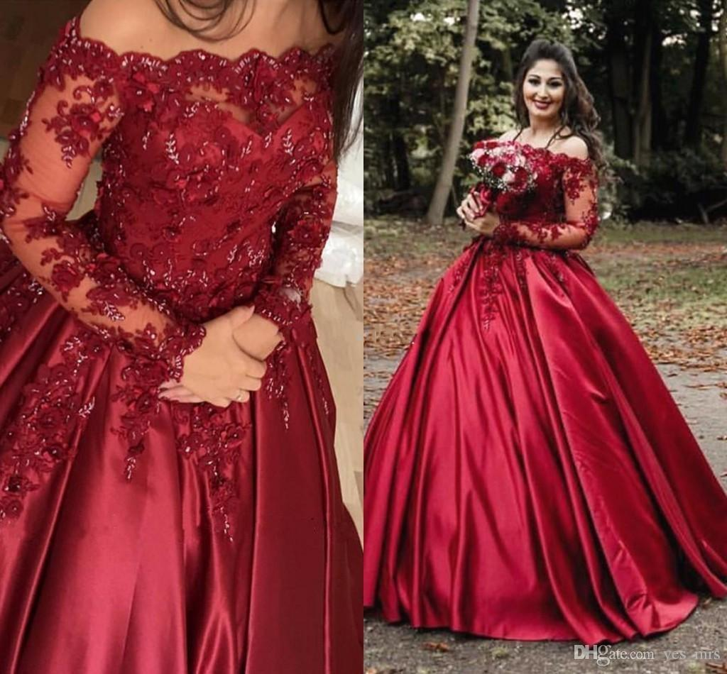 74597177884 2019 Quinceanera Dresses Off Shoulder Burgundy Dark Red Satin Lace Crystal  Flowers Puffy Sweet 16 Plus Size Party Dress Prom Evening Gowns Long Sleeve  ...
