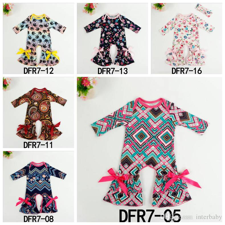 4539c1d44803 2019 Baby Rompers Girls Floral Printing Jumpsuit Infant Long Sleeve ...