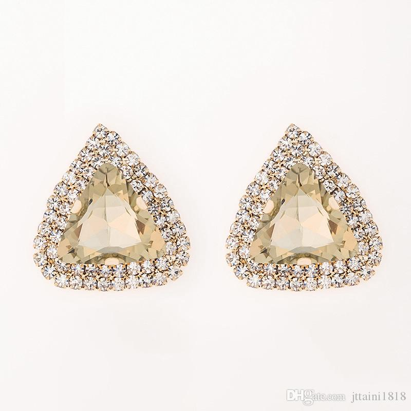 New Fashion Women Christmas Gift Earrings Jewelry Triangle champagne glowing gems sexy stud earrings gift #E083