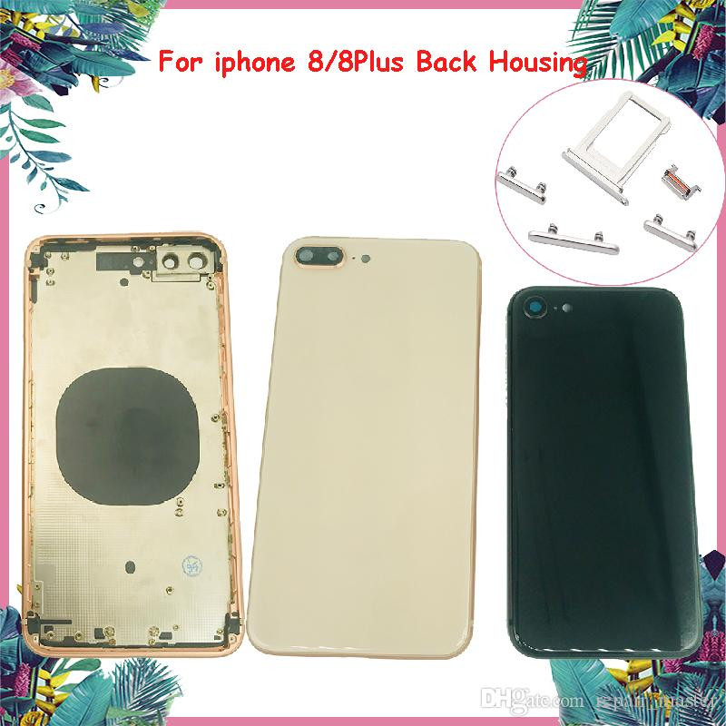 51cf685c6 Newest Back Housing For iphone 8 8 Plus Glass Material Battery Back Cover  Side Button+SIM Tray Back Frame Replacement Rear Door Case DHL