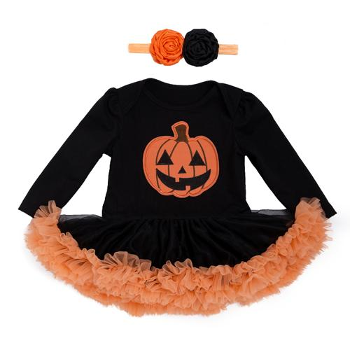 b67fff93f Baby Costume Girls Rompers Dresses Newborn Pumpkin Black Jumpsuits ...
