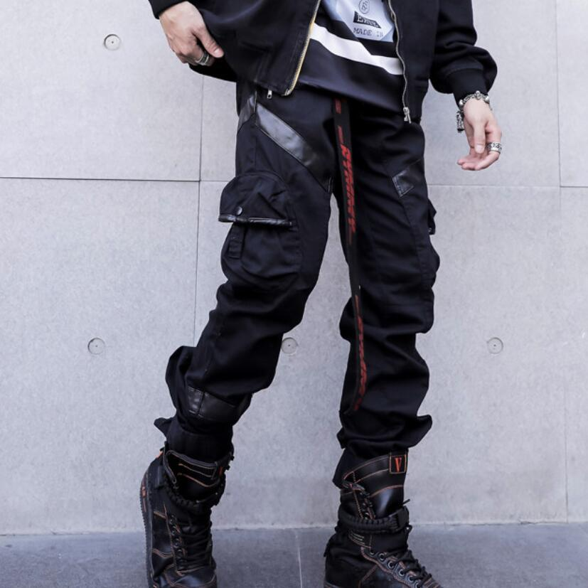 ad5ca069850c1 Compre Otoño Hombres Patchwork De Cuero Negro Punk Pantalones De Carga De Hip  Hop Con Muchos Bolsillos Mens Japón Estilo Hiphop Harén Pantalones  Corredores ...