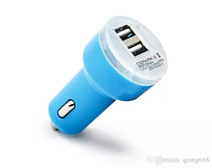 Colorful Mini Car Charger 2 ports Cigarette Lighter Socket Port 2.1A Micro auto smart power Adapter Dual USB for Phone 7 6s plus samsung