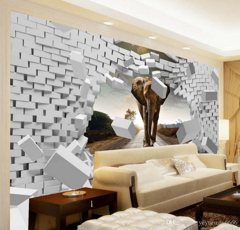 3d wall mural custom large bedroom wallpaper elephant 3d. Black Bedroom Furniture Sets. Home Design Ideas