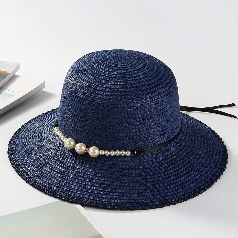 9a0b5edcd16 Summer Women Sun Hat Foldable Beach Cap Imitation Pearl Bowknot ...