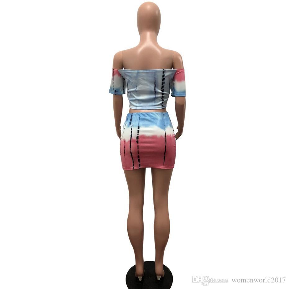 Sexy Zweiteiler Plus Size Kleid Tie Dye Aus Shouder Kurzarm Bodycon Kleid Frauen Sommer Mini Party Kleider