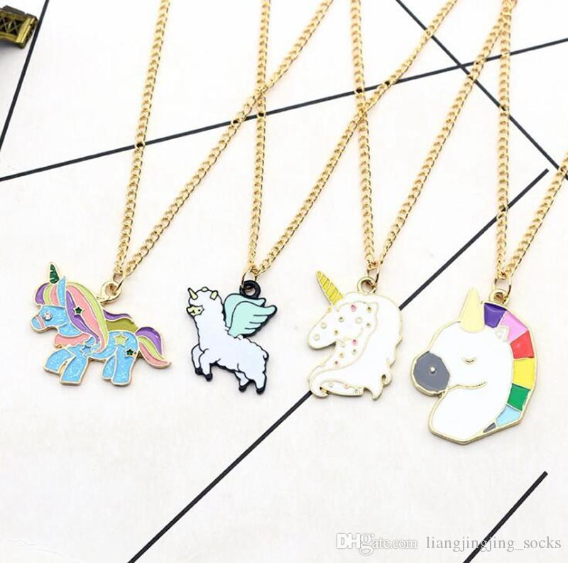 necklace accessories gold bf white for best colorful friends unicorn wholesale pendant pendants product plated kids gift heart jewelry chain silver men