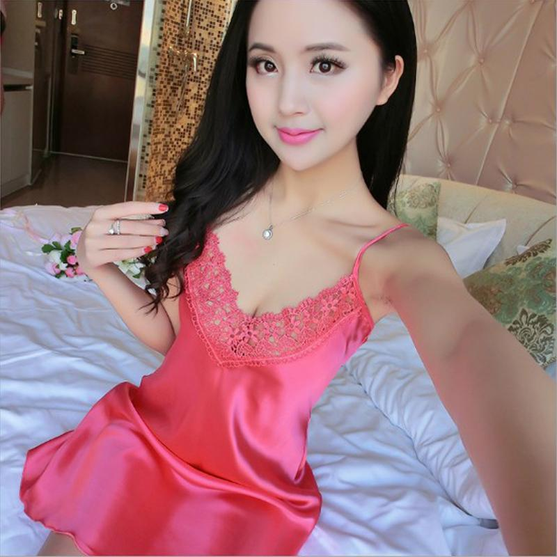 Deep V-neck Summer Sexy Lace Temptation Woman Nightgown Dress Women Hot Sale Satin Home Clothing Sleep Top
