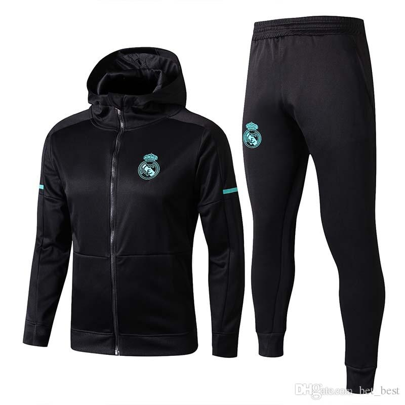b553a6761 2019 Tops 2018 Real Madrid Soccer Tracksuit 17 18 Mens Training  Presentation Suit 2017 Adult Football Hoodie Jacket Pants Suit Black From  Bet best