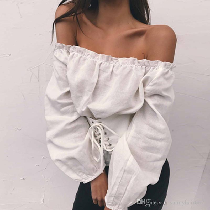 Heiße Explosionen Sexy Wort Baumwolle Kragen Slash Neck Langärmelige Hauchhülse Hüftgurt T-shirt Top T08
