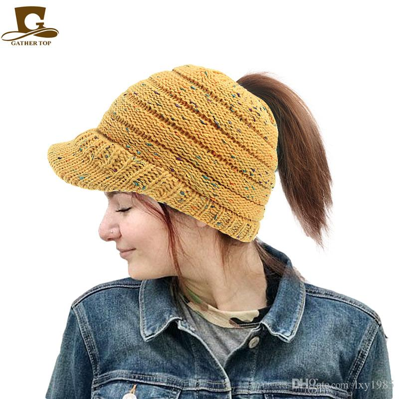 8a62c540c6efa Winter Women Ribbed Knit Beanie Tail Warm Knitted Messy High Bun Ponytail  Visor Beanie Cap Skull Caps Beanie Cap Online with  13.88 Piece on  Lxy1985 s Store ...