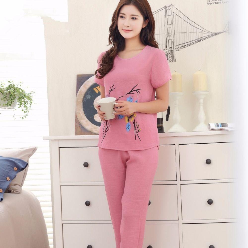 2019 Print Female Pajamas Set Sleepwear Loose Clothing Chinese Women Cotton  Linen Thin Pyjamas Suit Flower Nightwear Plus Size XL 4XL From ... 6ca7bd68e