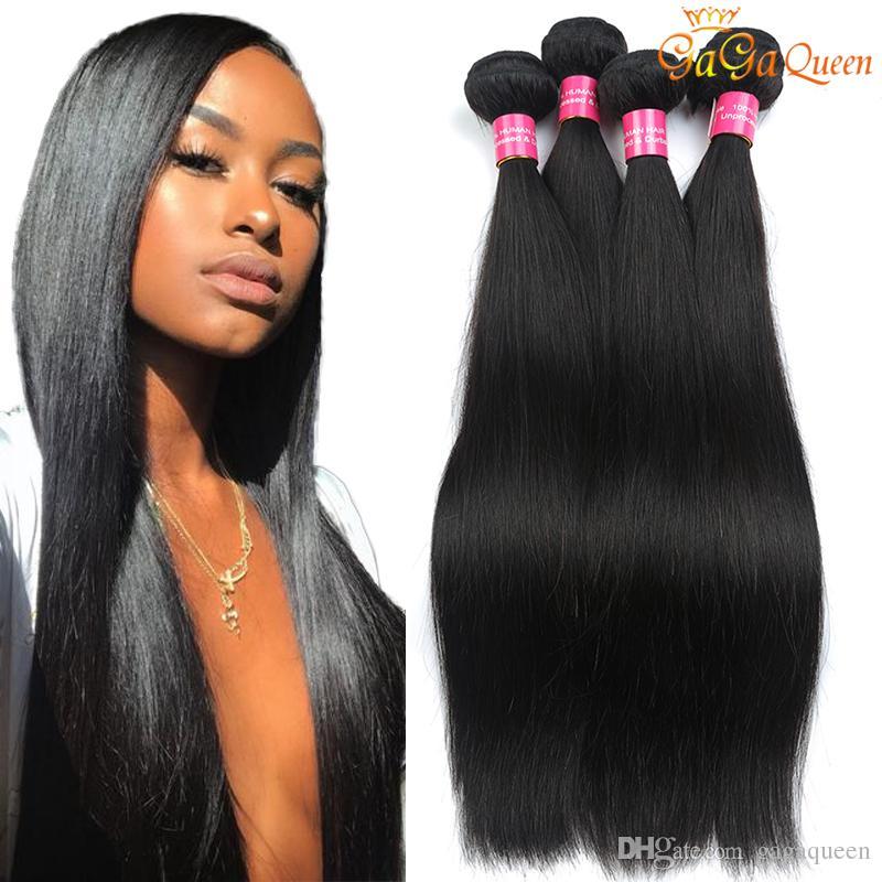 Factory Brazilian Virgin Hair Straight Human Hair Weave Unprocessed
