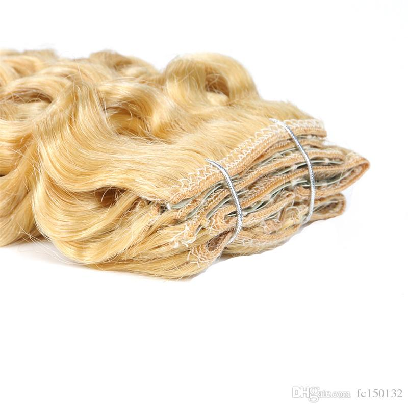 100g Brazilian Kinky Curly Blonde Color 613 Machine Made Remy Clip In Human Hair Extensions Thick Brazilian Hair 4b 4c