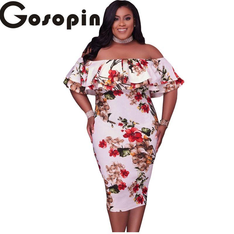 86b5bffe5f Wholesale- Gosopin Off Shoulder Dresses 2017 Floral Layered Ruffle  Curvaceous Bodycon Dress Plus Size XXXL Vestidos De Festa Longo LC61611