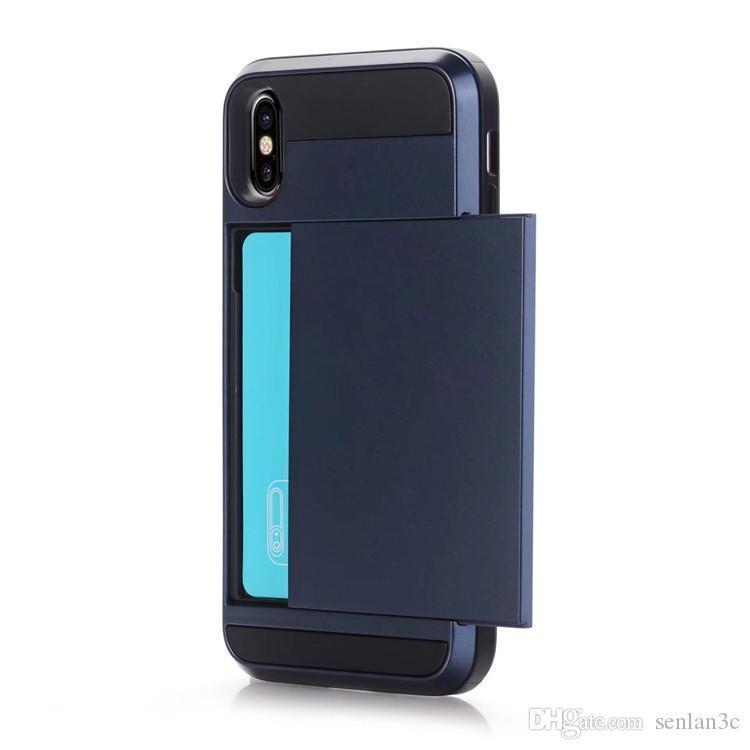 Hybrid 2 en 1 Glissière Carte Slot Cas Double Couche Antichoc Protecteur De Téléphone Cas Couverture Pour iPhone X 8 7 6 6S Plus
