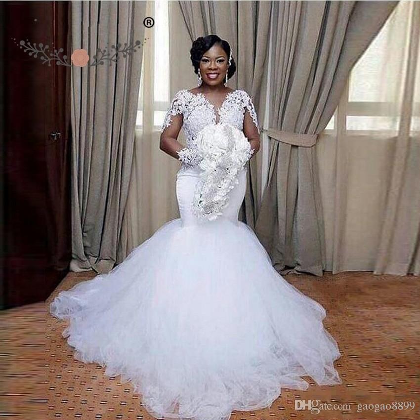 Non Traditional Wedding Dress Boho: 2018 African Nigerian Style Plus Size Long Sleeve Illusion