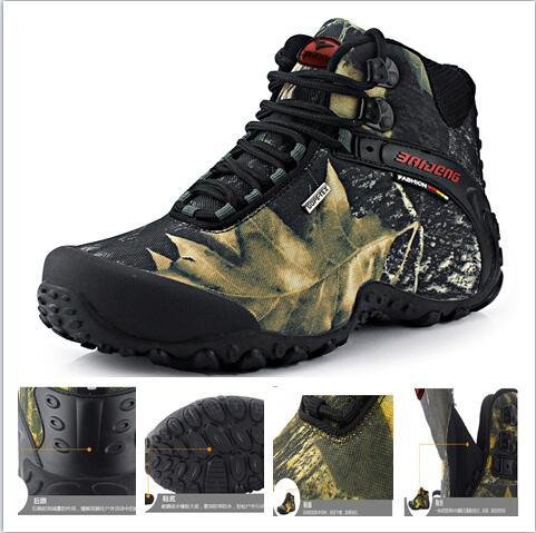Men Outdoor Camping Non-Slip Army Combat Boots Hiking Working Safety Cowhide Rubber Sole Women's High-Top Waterproof Trekking Hiking Boots
