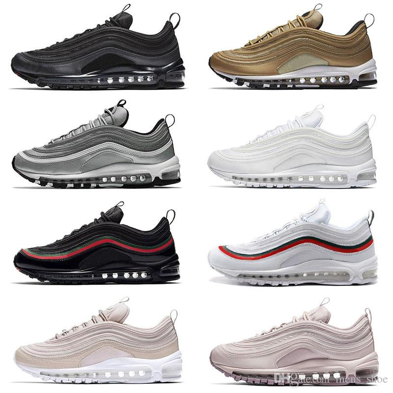 big sale 8b8ab 4aca2 Acquista Nike Air Max 97 OG Triple White Metallic Gold Silver Bullet 97  WHITE 3M Premium Running Shoes Uomo Donna Spedizione Gratuita A  83.25 Dal  Mens shoe ...