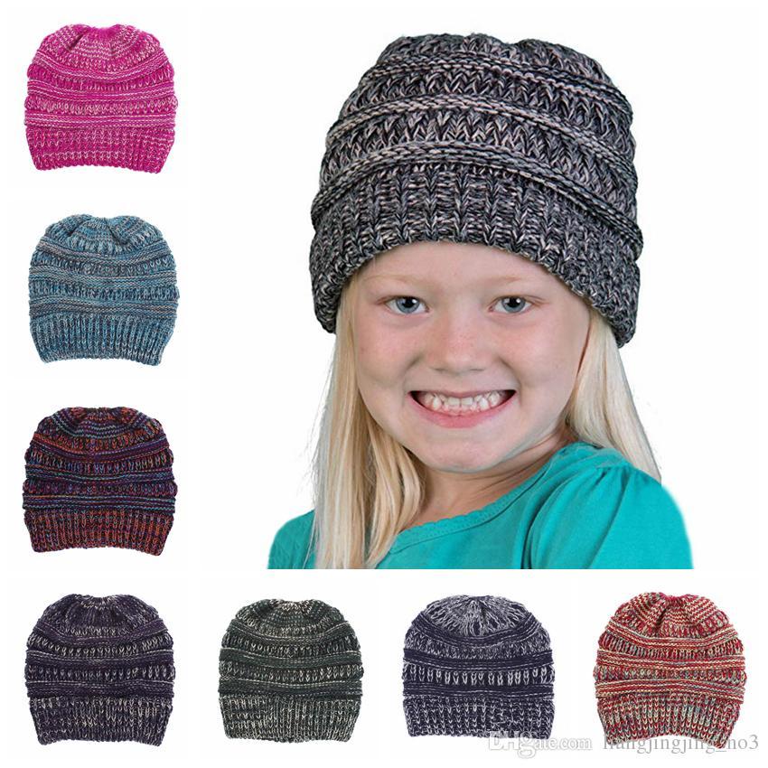 8 цветов мальчики крючком вязать шапочки зимние Skullies шляпы шапочки теплую шапку