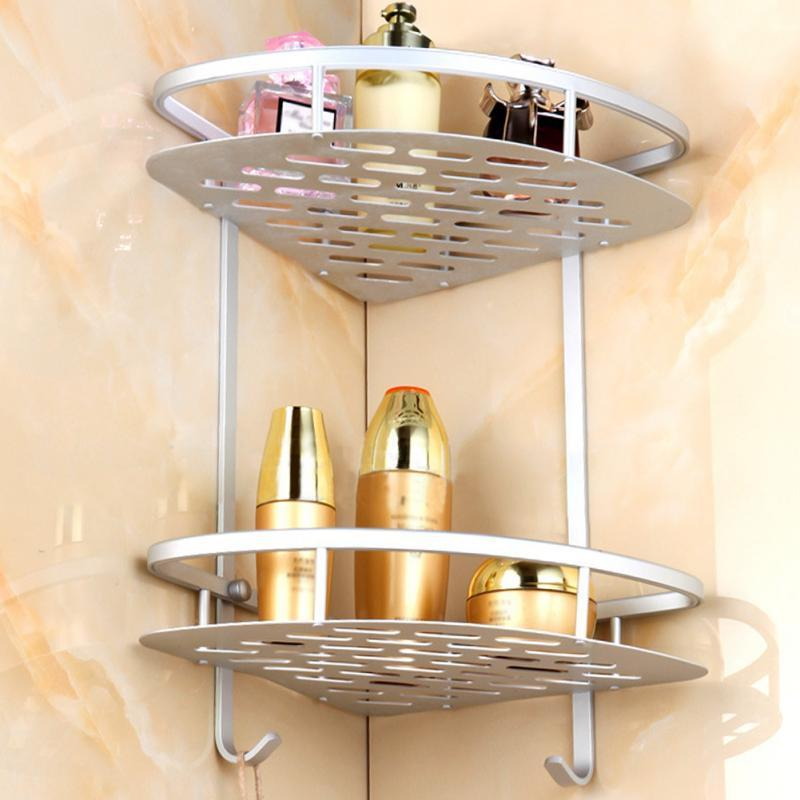 2018 Bathroom Toilet Rack Double Aluminum Triangular Shelves ...