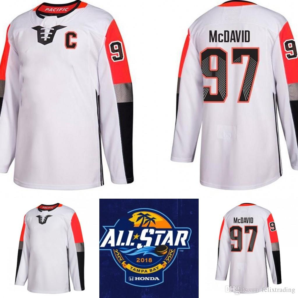 2019 97 Connor McDavid 2018 All Star Game 29 Marc Andre Fleury 18 James  Neal William Karlsson Jonathan Quick Pacific Division Brock Boeser Jersey  From ... f6fba1c64