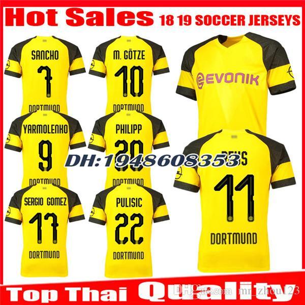 f67026fdf 2018 2019 REUS Soccer Jersey SANCHO Home 18 19 BATSHUAYI PHILIPP  INTERNATIONAL KAGAWA AUBAMEYANG YARMOLENKO Jerseys Uniforms Football Shirts  Soccer Jerseys ...