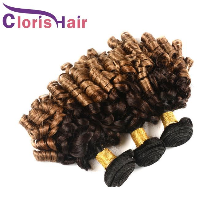 Colored 1B 4 30 Ombre Hair Bundle Nigeria Tía Funmi Peruvian Virgin Extensiones de cabello humano 3 tonos Blonde Spring Curly Tissage Ombre Weaves