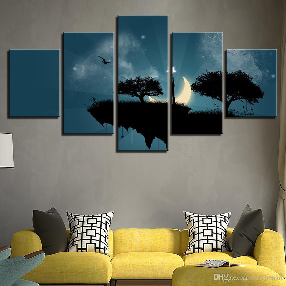 Quadro Da Arte Da Parede Pictures Quadro HD Imprime Abstrato Vista Poster 5 Peças Lua Estrela Íngreme Penhasco Balanço Pintura Home Decor