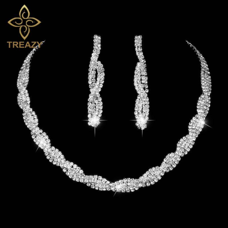 8744c52e2d79 Compre Treazy Cristal Nupcial Conjunto De Joyas De Color Plata Rhinestone  Choker Collar Pendientes De Compromiso De Boda Conjunto De Joyas Para  Mujeres A ...