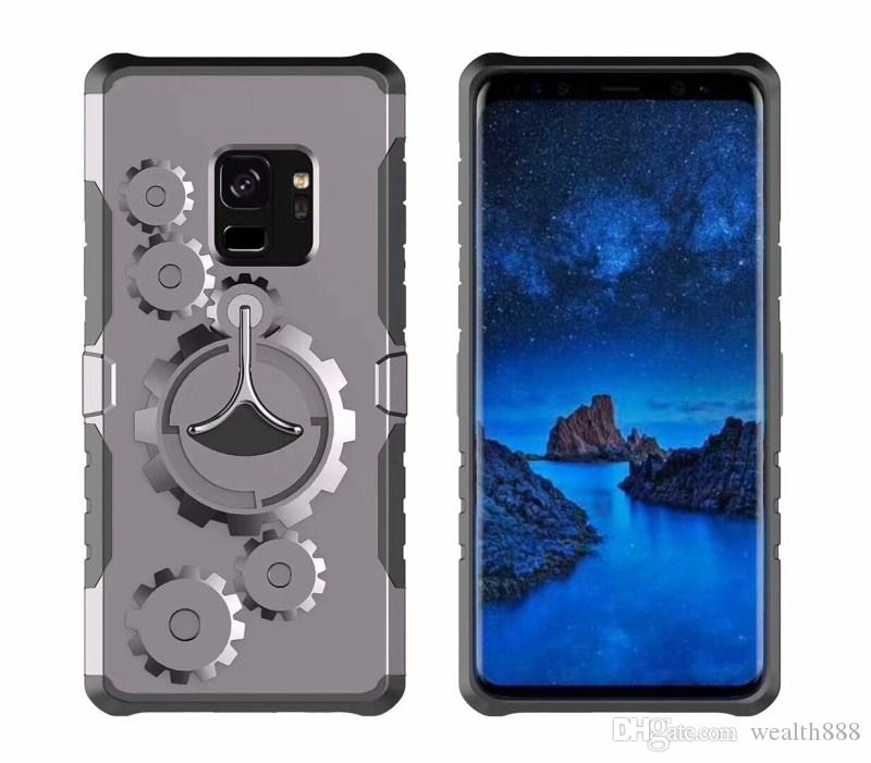 For iPhone X 8 7 6S Plus Mechanical Gears Kickstand Case Back Cover for Samsung Galaxy Note 8 S9 8 Plus With Sport Running Armband