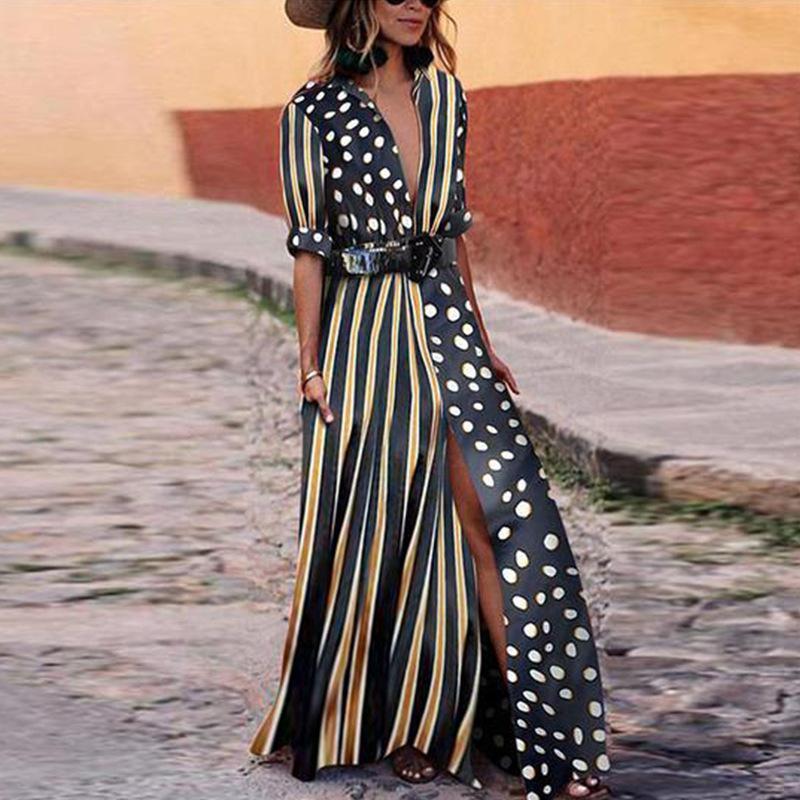 on sale e0594 c425a Lady maxi abiti donna abito lungo a pois a righe button button mezza manica  abiti camicia casual S-XL