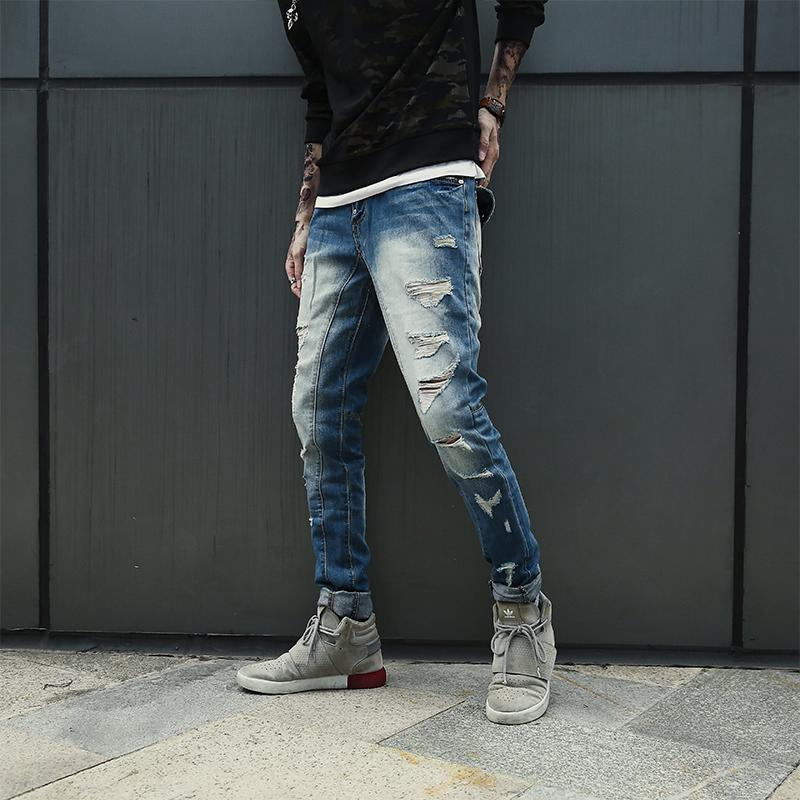 94ca00f4a00 2019 XXS 6XL 2018 Spring New Korean Style Branded Blue Heavy Ripped Denim  Jeans For Men