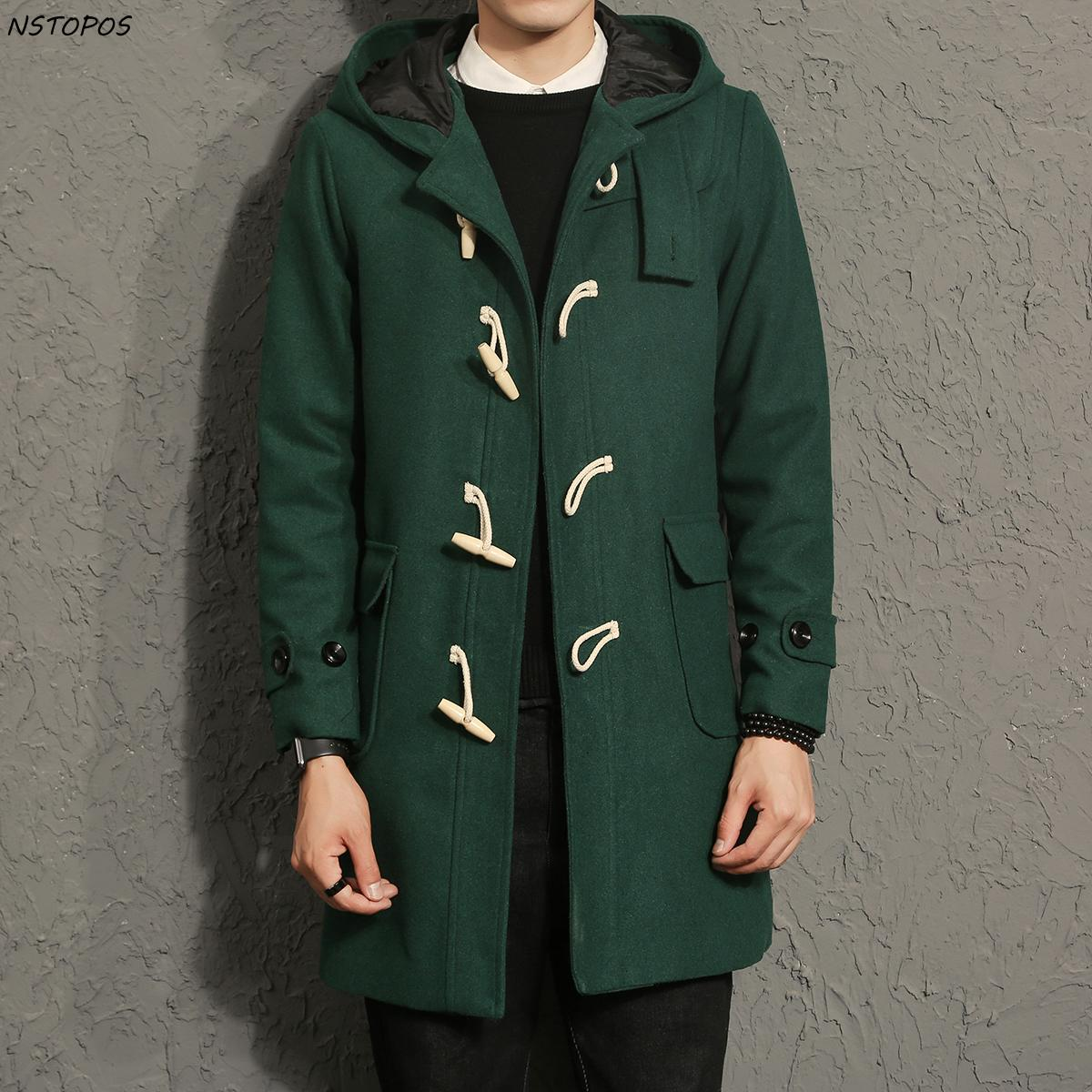 b7bf132e839 2019 Wholesale Horn Button Men S Long Trench Coats 2017 Autumn Winter Men  Hoodie Trench Coat Male Trench Coat Winter Black Green Big Size 5xl From  Kennethy