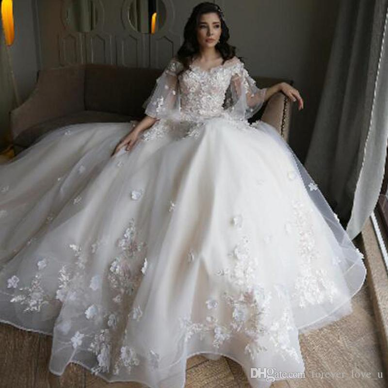 Discount 2018 Princess Fairy Wedding Dresses 3D Floral Lace Appliques Sheer  Bell Sleeves A Line Bridal Gowns Organza Dress Big Ball Gown Wedding Dresses  ... 346c736db672