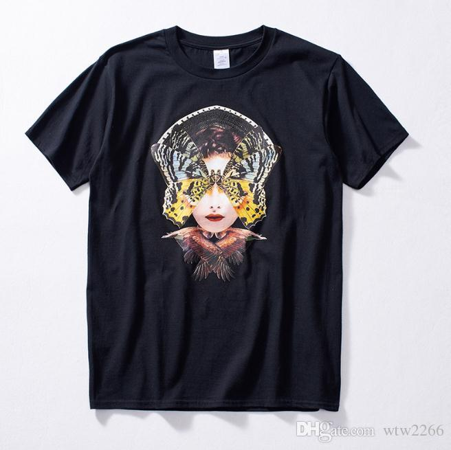 Primavera e verão nova marca maré juventude solta manga curta homens moda cabeça abstrata impressão T-shirt
