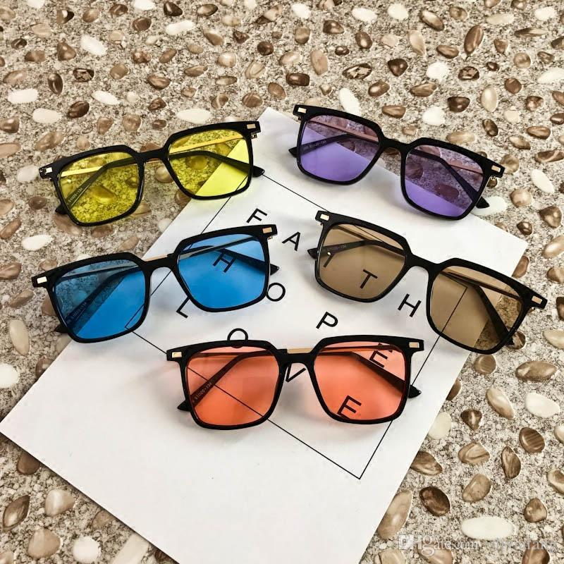 4ab66b6178b5 Korea Stylish Sunglasses Half Transparent Lens Candy Color Vintage  Eyeglasses For Women Men Black Spectacle Frame Ocean Lens Outdoor Eyewear  Sunglasses Shop ...