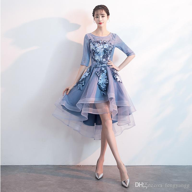 943b90849 Short Homecoming Dresses 2018 Half Sleeve Appliques Flower Blue Formal  Dresses Asymmetrical Illusion O Neck Wedding Party Dress Peach Bridesmaid  Dresses ...